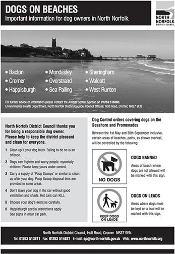 A copy from a leaflet outlining the rules on dogs at beaches.