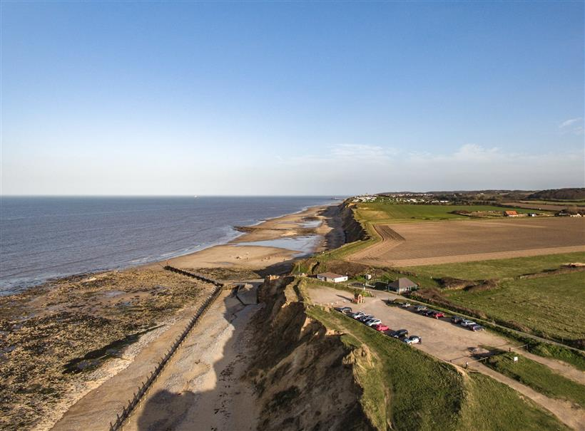 An aerial view of the car park at West Runton.